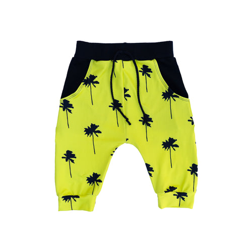 Yellow Palm Tree Pocket Shorts