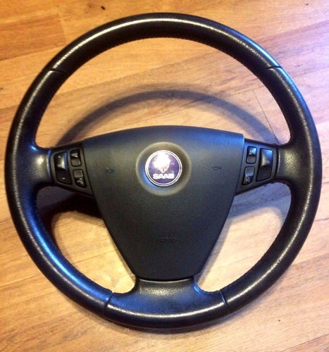 2004 Saab 9-3 Arc Leather Steering Wheel w/ Radio Controls Complete w Allen Bolt
