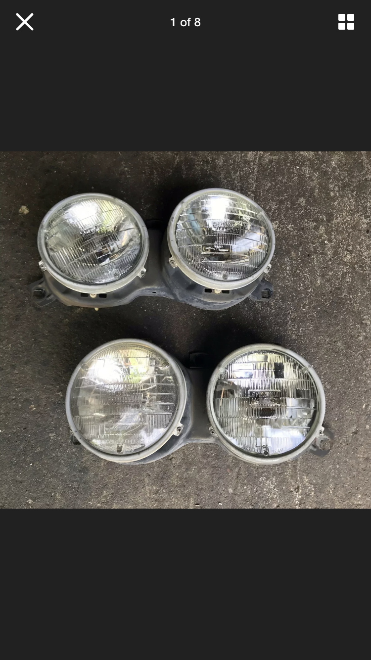 OEM Hella BMW E30 325ic 325es 318i Sealed Beam Headlights Pair