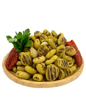 Grilled and Pitted Green Olives