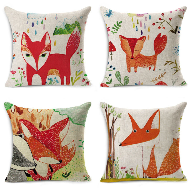 Cartoon Fox Pillow Cases