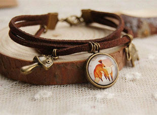 Fox Leather Charm Bracelet