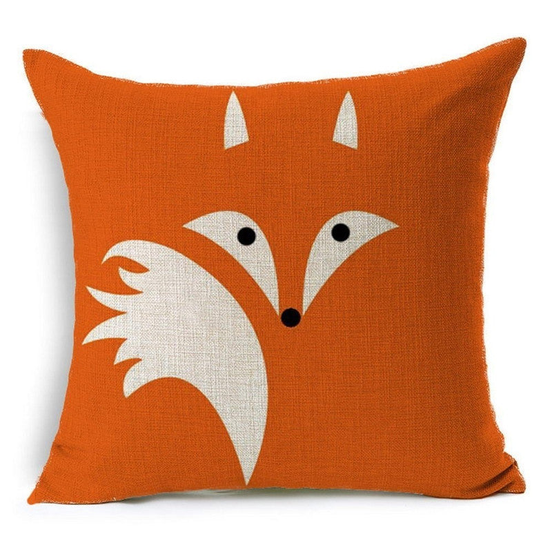 Orange Fox Pillow Cover