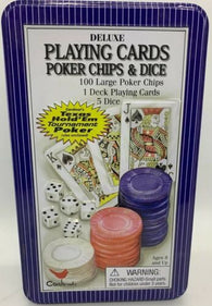 Deluxe Cardinal Poker Playing Cards & Chips Texas #458 Blue Tin 2004 - Pre-owned / Complete