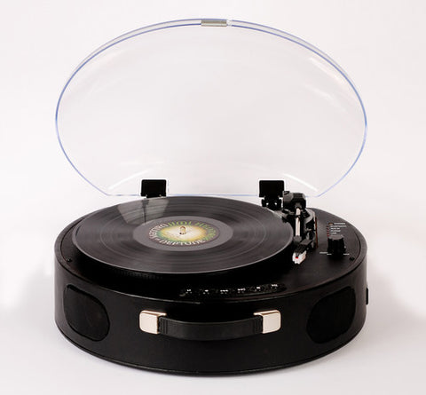 Rock 'N' Rolla UFO. - Portable Rechargeable Bluetooth USB Vinyl RecordPlayer Turntable - Black