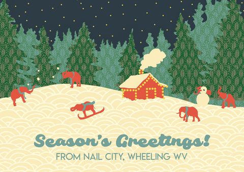 Season's Greetings! From Nail City, Wheeling, WV Postcards (Set of five cards)