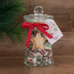 PERSONALISED MINTIES LOLLY JAR 1kg Incl Lollies & FREE Personalised Bauble