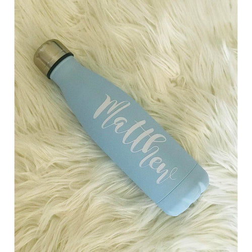 Personalised Double Wall Insulated Bottle - Pastel Blue