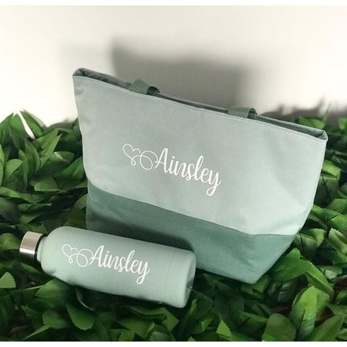 Personalised Drawstring Lunch Bag and Water Bottle Set