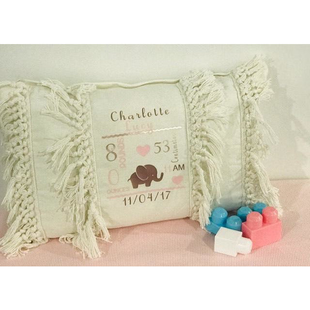 Boho Birth Announcement Cushion