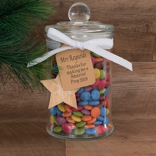 PERSONALISED SMARTIES LOLLY JAR 1.2KG  Incl FREE Personalised Bauble