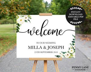 instant download editable pdf printable wedding welcome signs