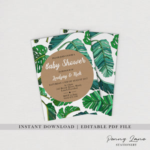 tropical palm leave baby shower printables