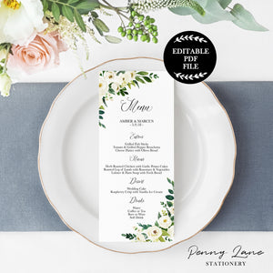 Editable PDF printable wedding menus