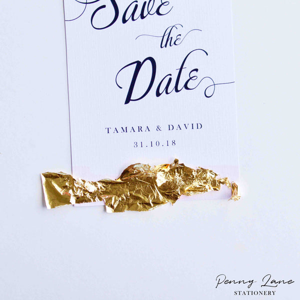 Gold Leaf Save the Date Cards with FREE printable! – Penny