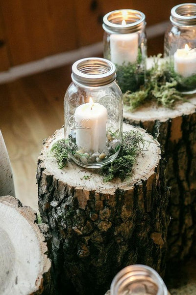 Rustic Candles in Mason Jars