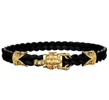 Bracelet scorpion or et cuir