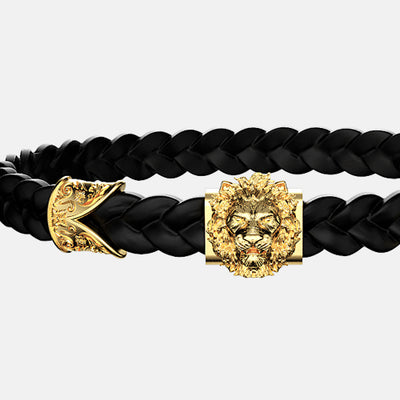 bracelet lion or cuir noir