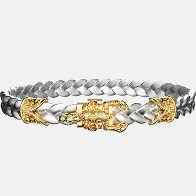 bracelet scorpion or cuir argent