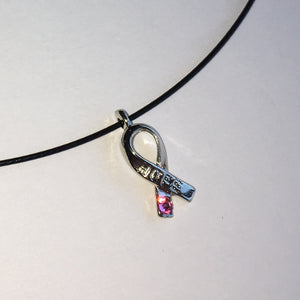 Cancer Awareness Ribbon Bling HOPE Choker with Swarovski Crystals Choose your Color Charm Necklace Bracelet