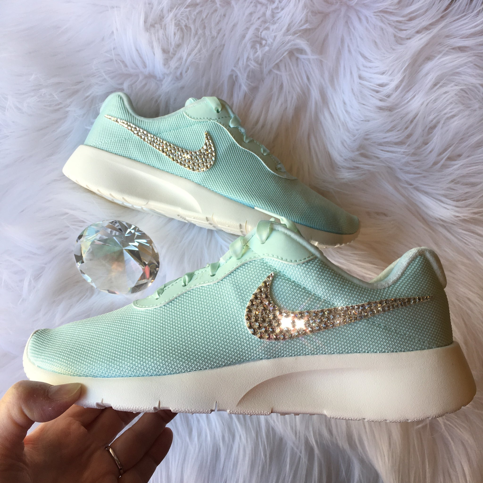 71ff3a0838ad Bling Nike Tanjun Shoes with Swarovski Crystal Bedazzled Swooshes   Igloo    Sail (Mint ...