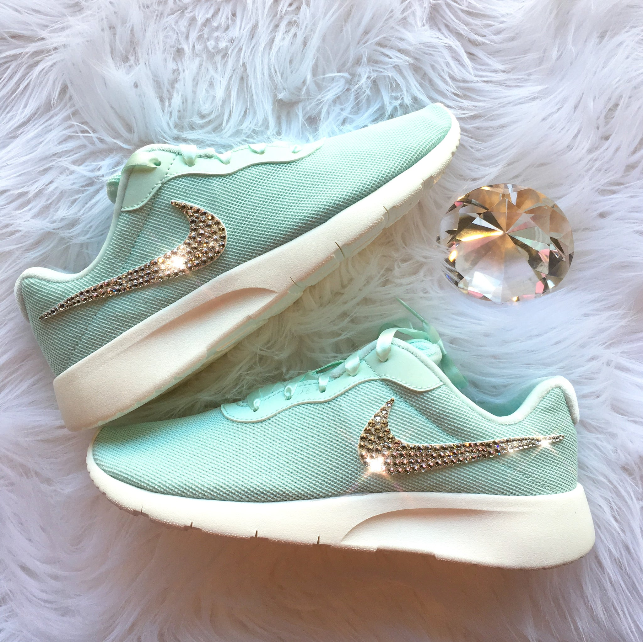 brand new 747b7 46d53 ... Bling Nike Tanjun Shoes with Swarovski Crystal Bedazzled Swooshes    Igloo   Sail (Mint ...