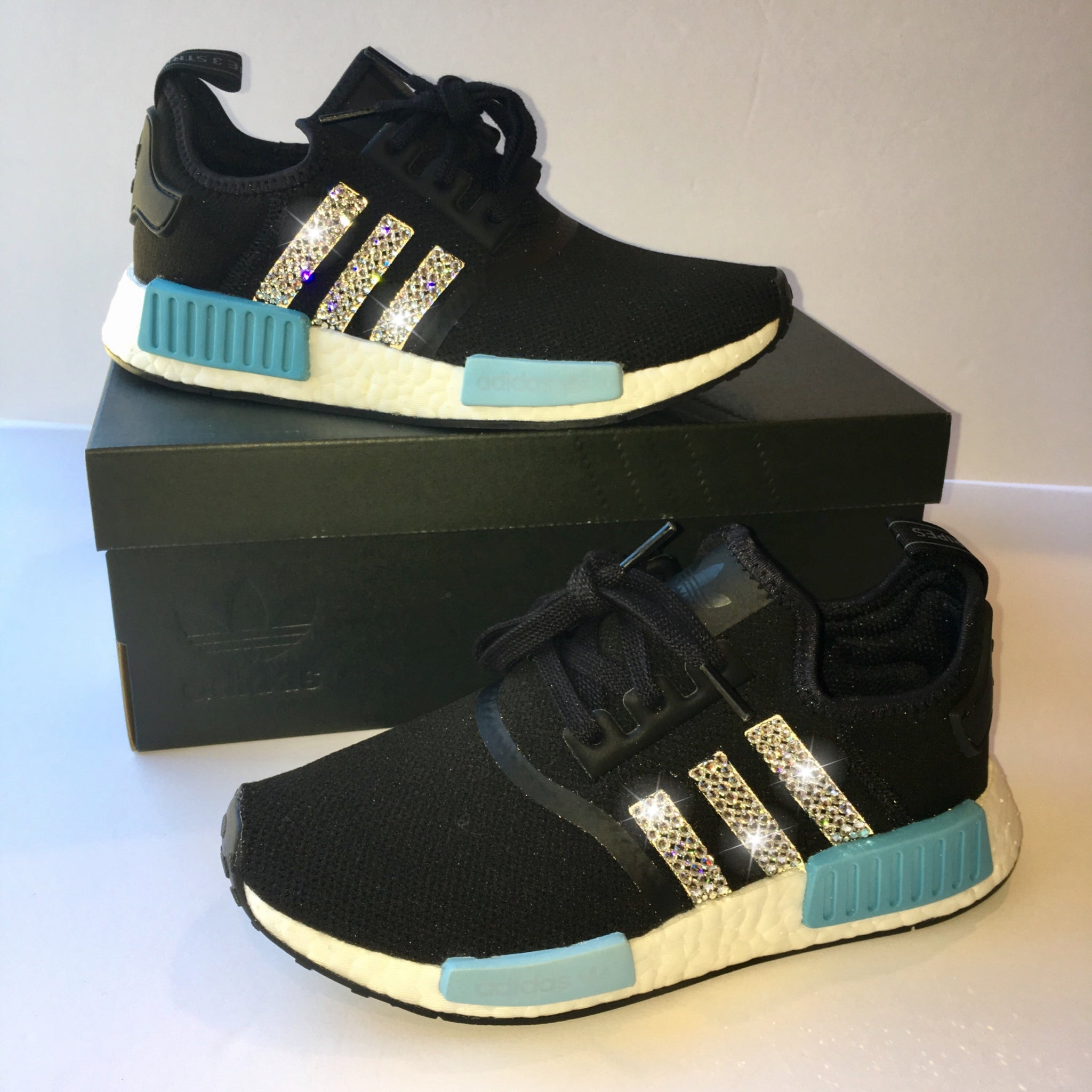 380e7ca01 NEW Bling Adidas NMD with Swarovski Crystals   Women s Originals NMD R1  Runners Casual Shoes   Black