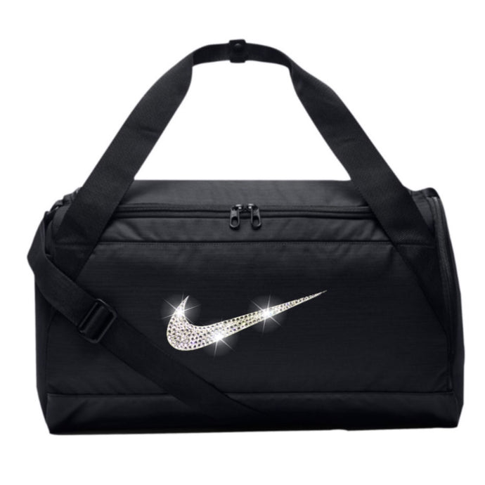 Bling Nike Brasilia Gym Bag with Swarovski Crystal Bedazzled Swoosh BLACK