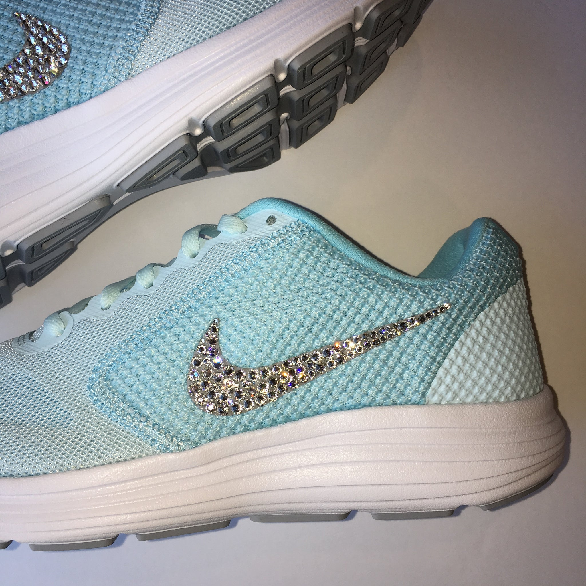 ... Bling Nike Revolution 3 Shoes with Swarovski Crystals   Tiffany Blue    Bedazzled with Authentic Swarovski ... ea51649f3