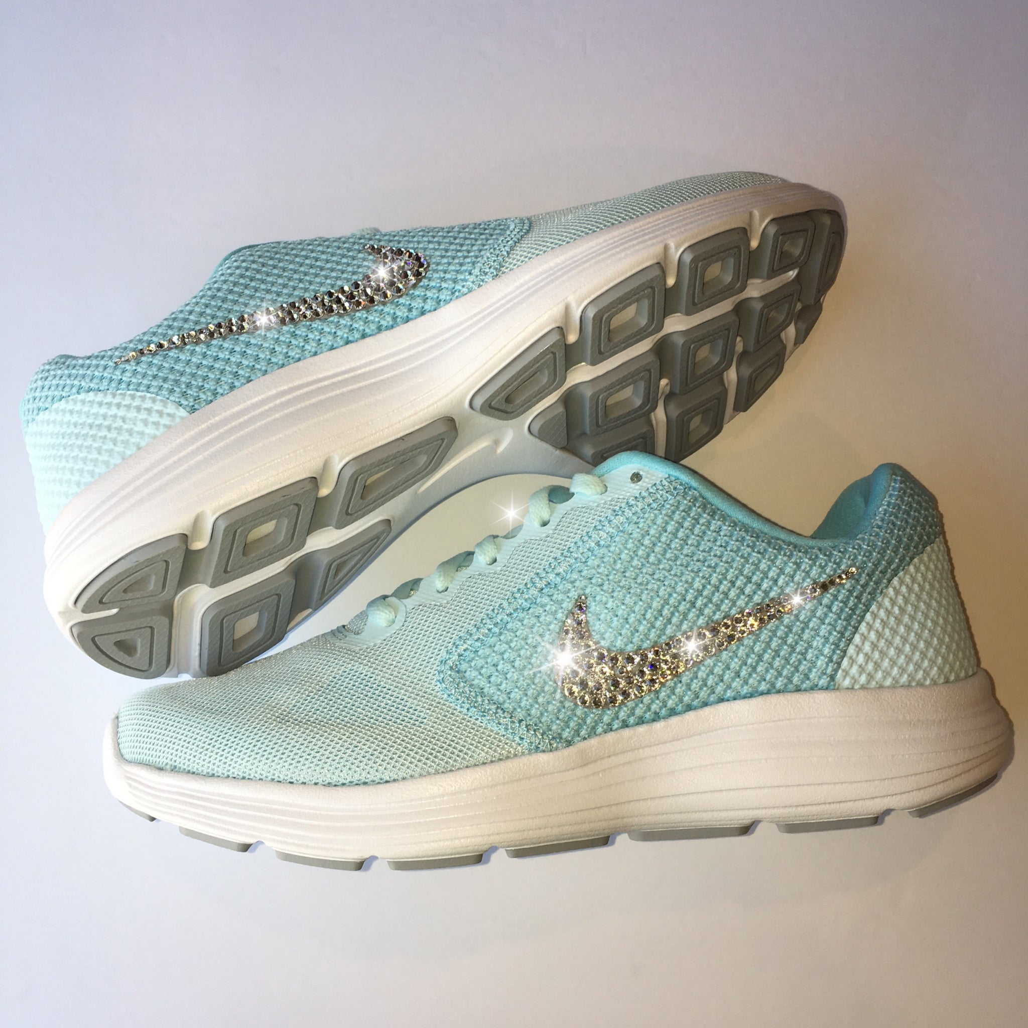 cheap for discount d087f 02a9e ... Bling Nike Revolution 3 Shoes with Swarovski Crystals   Tiffany Blue    Bedazzled with Authentic Swarovski ...