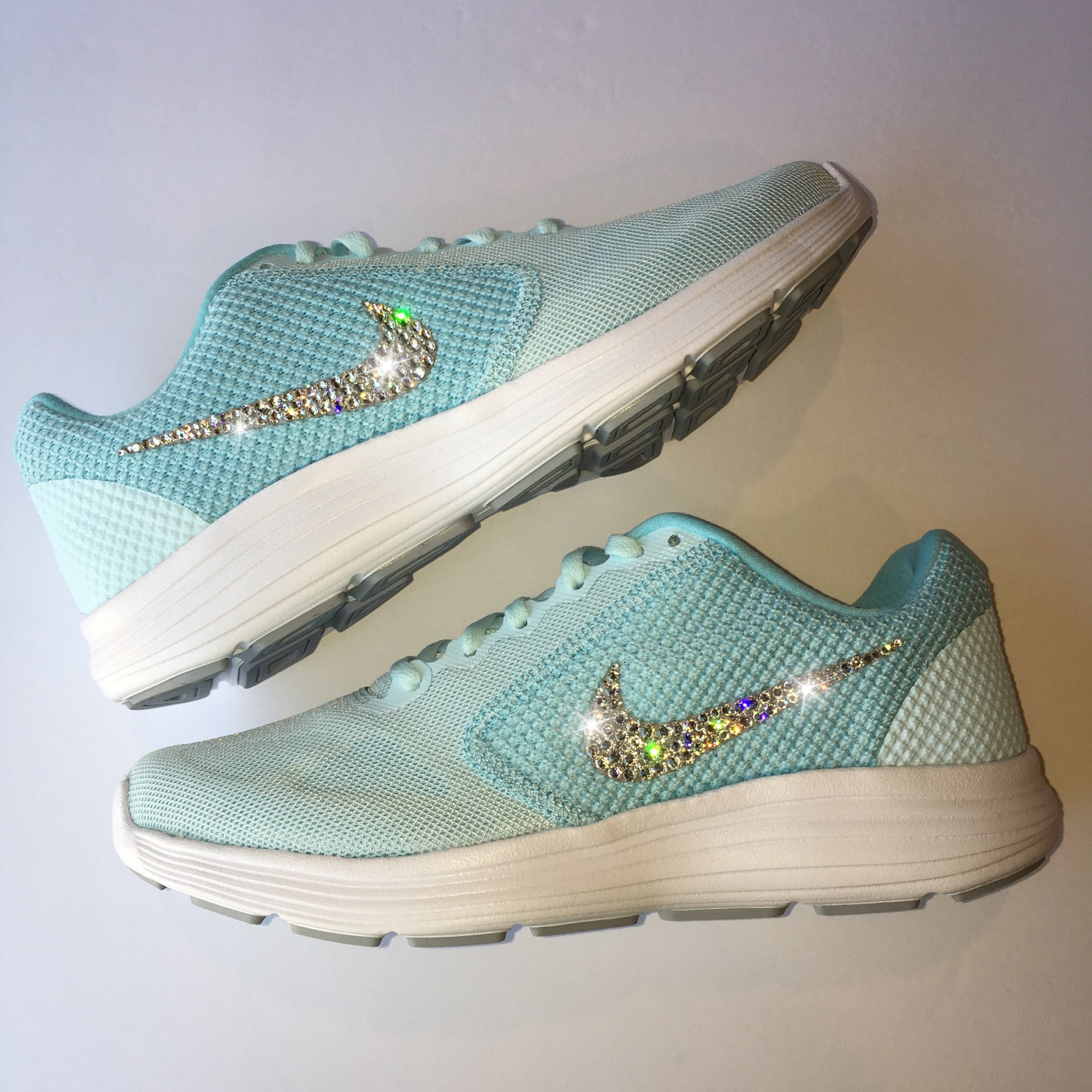 39a774a97386 Bling Nike Revolution 3 Shoes with Swarovski Crystals   Tiffany Blue    Bedazzled with Authentic Swarovski