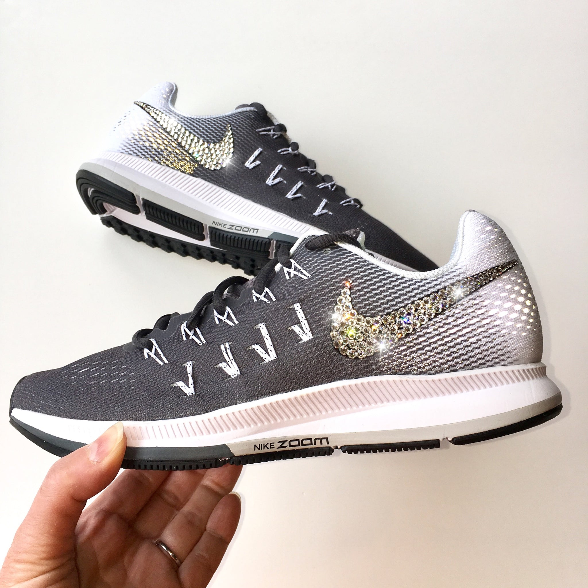 2800bf581c85 ... Bling Nike Air Zoom Pegasus 33 Shoes with Swarovski Crystals   Dark  Grey   Bedazzled w ...