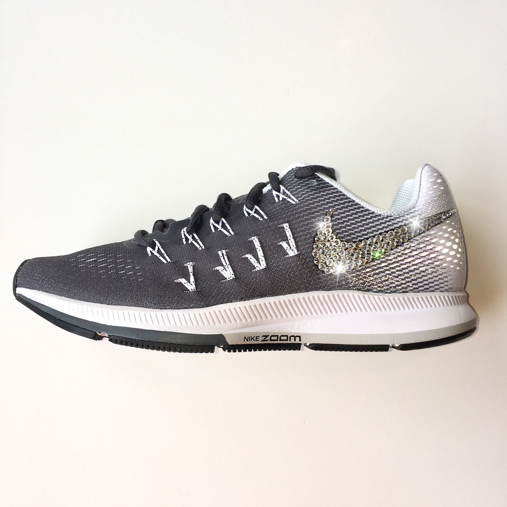 ce1f6fa1bf26a Bling Nike Air Zoom Pegasus 33 Shoes with Swarovski Crystals   Dark Grey   Bedazzled  w ...