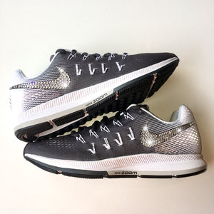 55028b10b8ed5 Bling Nike Air Zoom Pegasus 33 Shoes with Swarovski Crystals   Dark Grey   Bedazzled  w