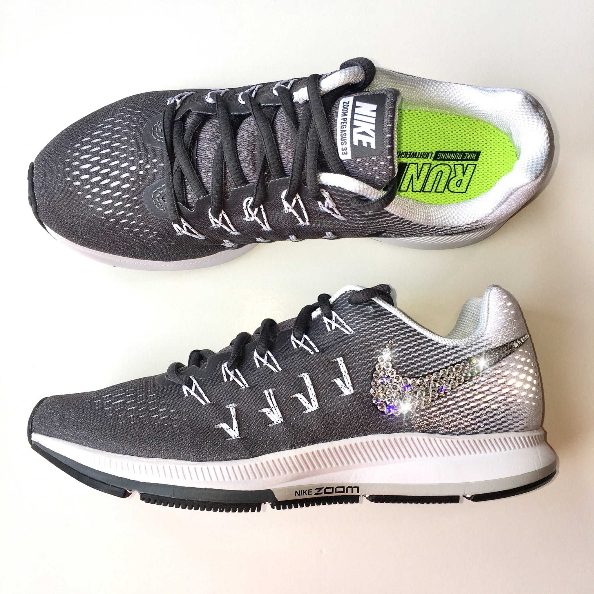 ... Bling Nike Air Zoom Pegasus 33 Shoes with Swarovski Crystals   Dark  Grey   Bedazzled w ... c31ec911b