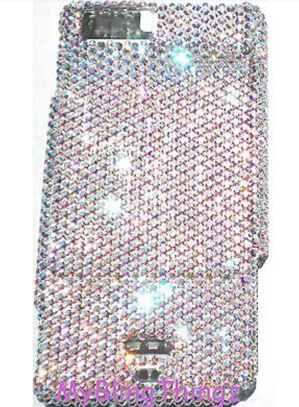 Small 12ss Iridescent Crystal AB Diamond Rhinestone BLING Back Case for Motorola Droid X or X2 handmade using Swarovski Elements