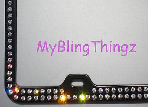 2 Rows Clear BLING Inset / Embedded Rhinestone on Black License Plate Frame made with Swarovski Crystals