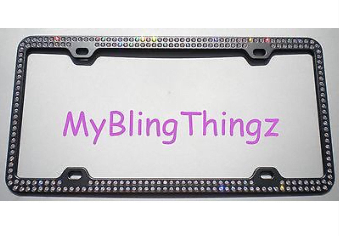 2 Rows Clear BLING Inset / Embedded Rhinestone on Black License ...