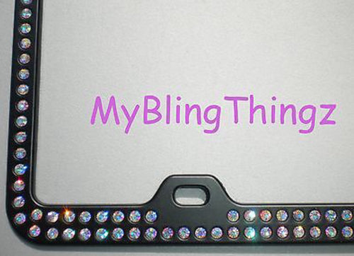 2 Rows Iridescent Crystal AB BLING Inset / Embedded Rhinestone on Black License Plate Frame made with Swarovski Crystals