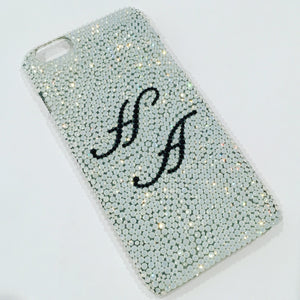 "For NEW iPhone 6S PLUS (5.5"") ~ 2 initials - Small 12ss White Opal Rhinestone BLING Back Case bedazzled using 100% Crystals from Swarovski"