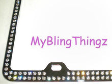 2 Rows Clear BLING Inset / Embedded Rhinestone Silver Chrome License Plate Frame made with Swarovski Crystals