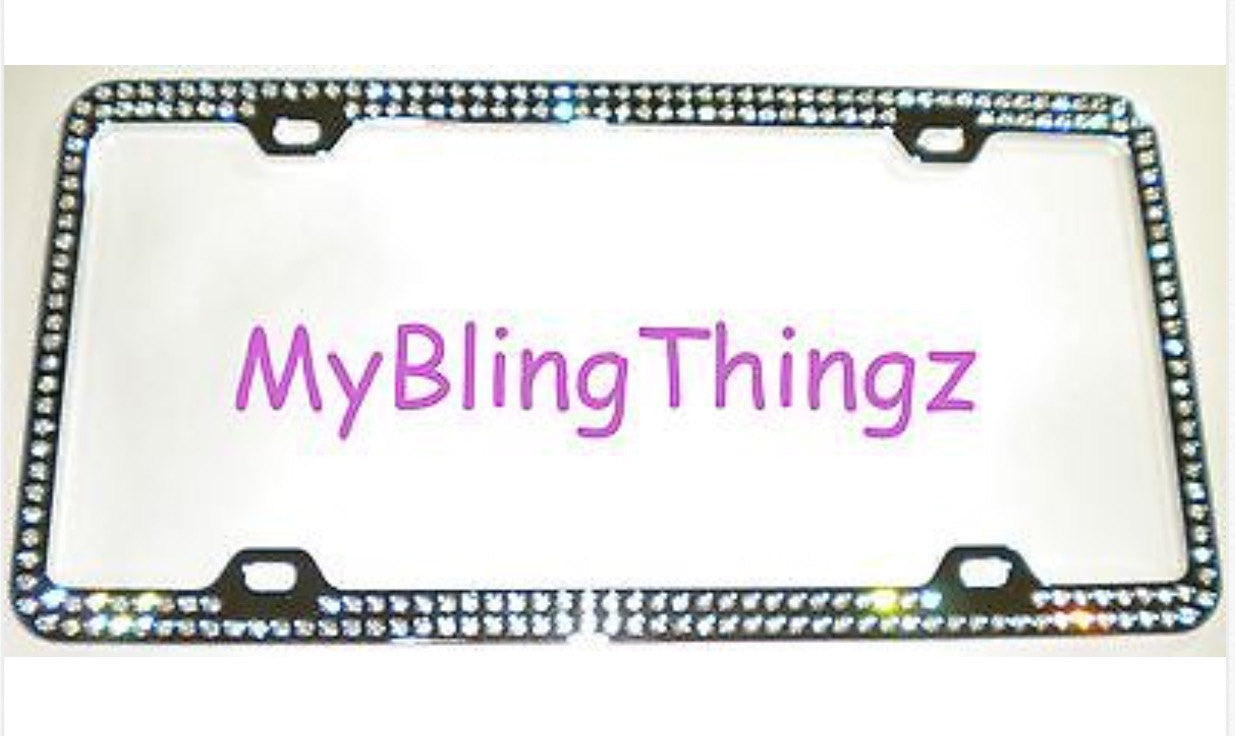 2 Rows Clear BLING Inset / Embedded Rhinestone Silver Chrome License ...