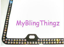 2 Rows Iridescent Crystal AB BLING Inset / Embedded Rhinestone Silver Chrome License Plate Frame made with Swarovski Crystals