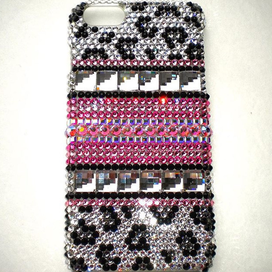 Swarovski Crystal Bling iPhone Case - Multi - Pink- Snow Leopard Design - Diamond Rhinestone BLING Back Case handmade using 100% Swarovski Crystals