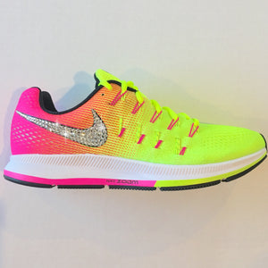 Bling Nike Pegasus Shoes with Swarovski Crystals * Nike Air Zoom Pegasus 33 OC Olympic 2016 Bedazzled w/100% Authentic Swarovski Crystal Rhinestones