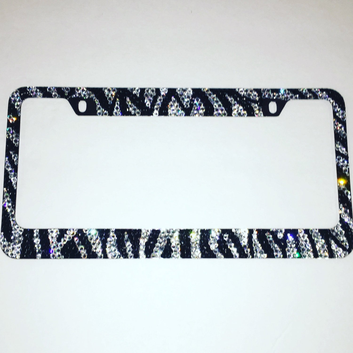 ZEBRA License Plate Frame with Swarovski Crystals * Black & White ...