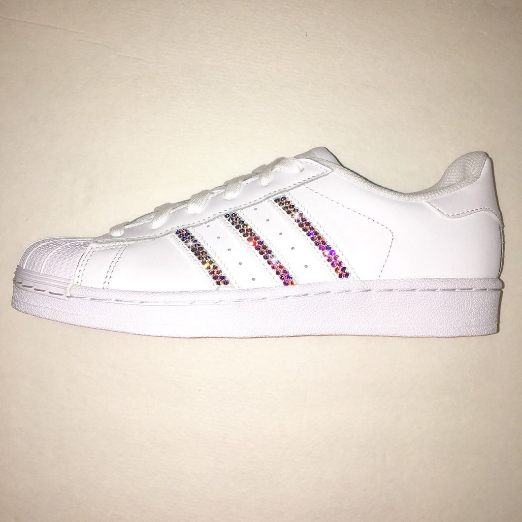 Bling Adidas with Swarovski Crystals * Women's Original Superstar Shoes Bedazzled w/ AB Swarovski Crystal Rhinestones