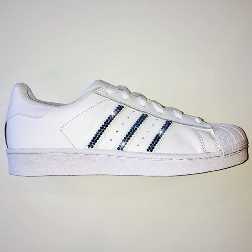 Bling Adidas with Swarovski Crystals * Women's Original Superstar Shoes Bedazzled w/ Aquamarine Swarovski Crystal Rhinestones