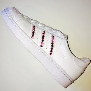 Bling Adidas with Swarovski Crystals * Women's Original Superstar Shoes Bedazzled w/ XL BABY PINK Swarovski Crystal Rhinestones