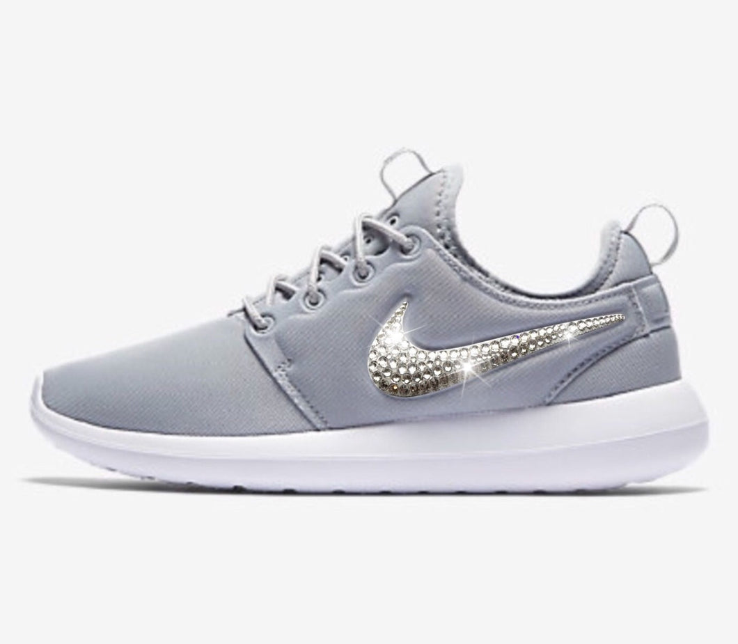 Bling Nike Roshe Two Shoes with Swarovski Crystals * Grey / White * Bedazzled Authentic Swarovski Crystal Rhinestones